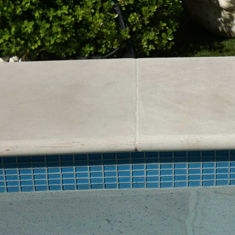 Display Pool 2 - Indian Dawn Honed Sandstone Bullnose, Arctic Sky Interior, Sky Blue Waterline Tiles