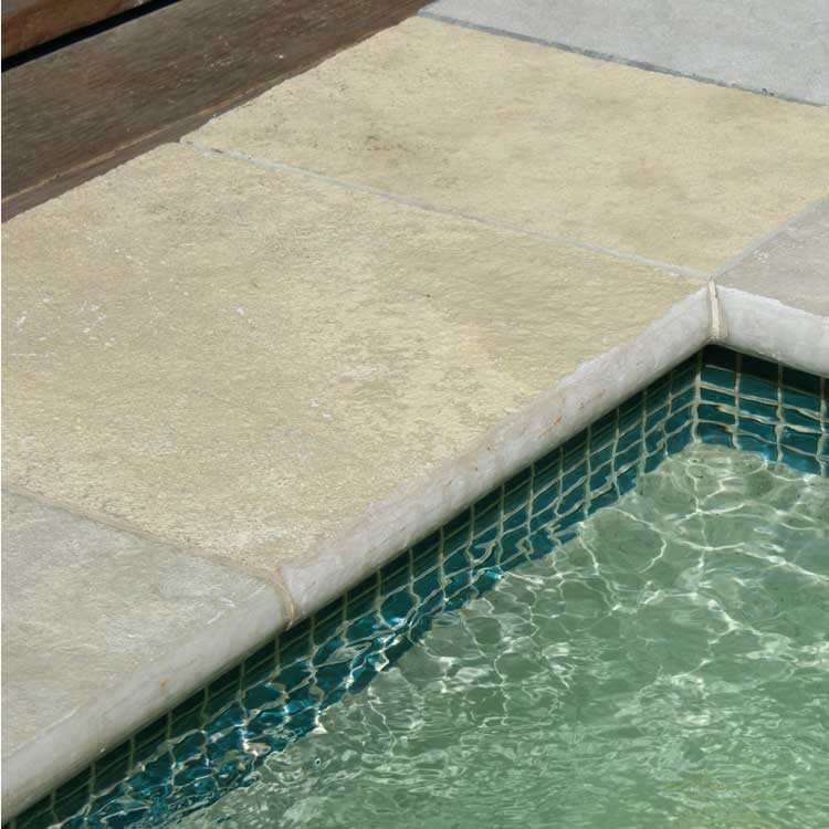 Display Pool 4 - Tuscan Beige Limestone Bullnose, Arctic Emerald Interior, Teal Tile Display Wall, Emerald Waterline Tiles