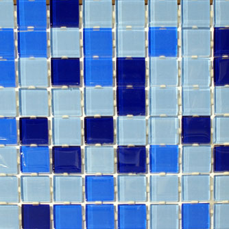 Waterline Tile (Mosaic) - 3 Mixed Blue (23 x 23mm)
