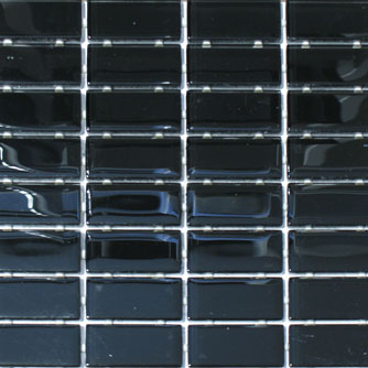 Waterline Tile (Mosaic) - Onyx Black (23 x 48mm)
